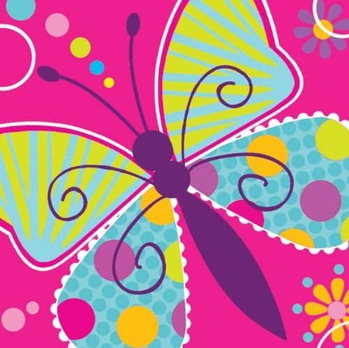 16-Count Paper Beverage Napkins, Butterfly Sparkle -