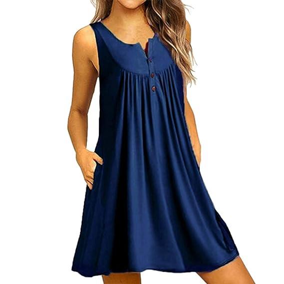 ... Grandes,EUZeo,Casual Vintage sin Mangas Adelgazamiento Sexy Dress for Women Faldas Elegantes para Boda Playa Eventos S-4XL: Amazon.es: Ropa y accesorios
