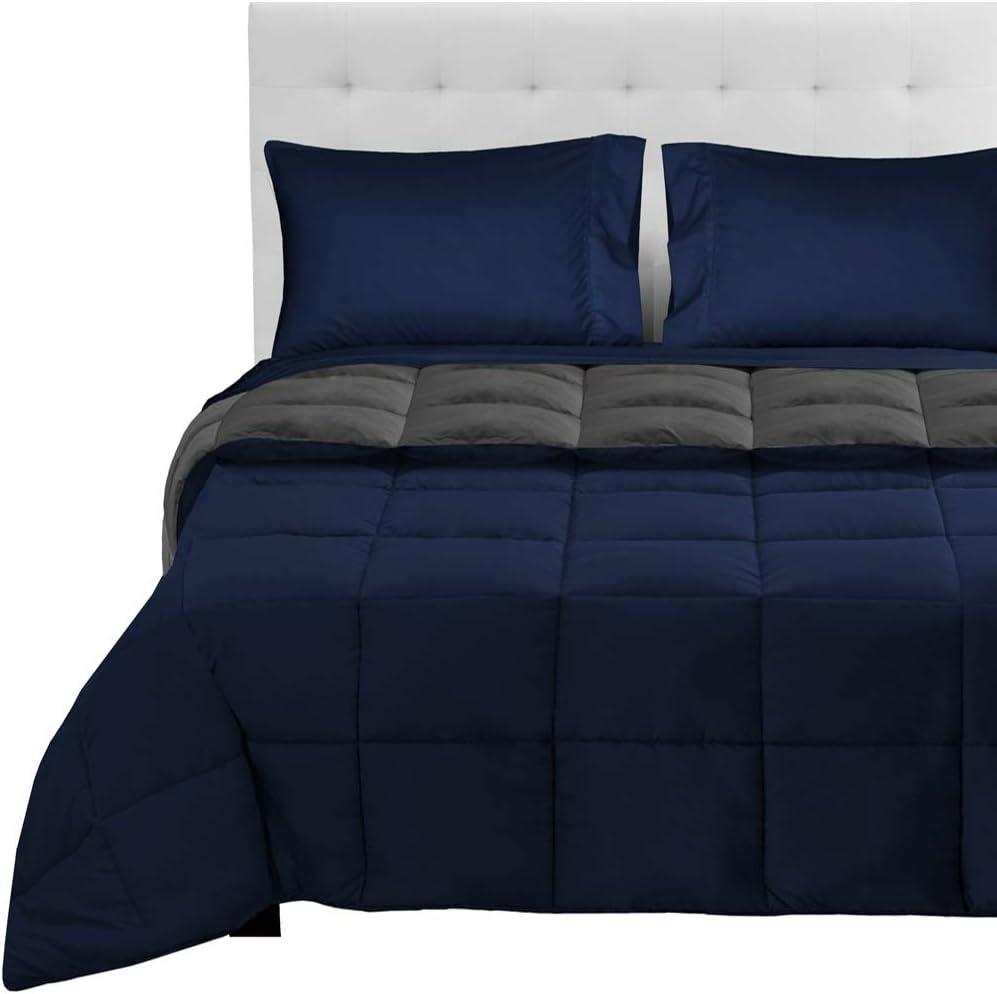 Bare Home Reversible Bed-in-A-Bag 5 Piece Comforter & Sheet Set - Full - Down Alternative - Ultra-Soft - Hypoallergenic - Breathable Bedding Set (Full, Dark Blue/Grey, Dark Blue)