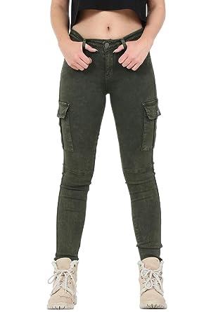 8d8b7299576a9 Femme Pantalon Treillis Stretch Coupe Slim et Skinny - Vert Foncé (42)