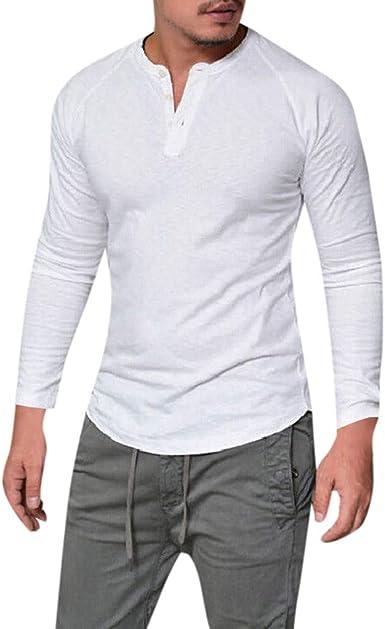 CAOQAO Camisa Hombre Manga Larga Moda Delgado músculo Casual sólido Cuello en v Tops Blusa: Amazon.es: Ropa y accesorios