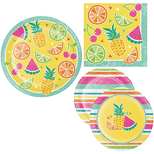 (Summer Fruit Picnic Party Supply Pack! Bundle Includes Paper Plates & Napkins for 8)
