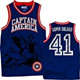 Marvel Captain America Men's We Are Basketball Jersey, Blue/Red, XX-Large