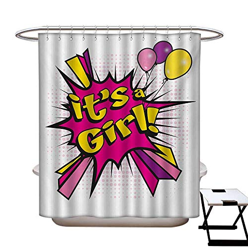 haommhome Gender Reveal Hotel Quality Shower Curtain Liner Pop Art Style Its A Girl Quote Comic Strip with Balloons Print Shower Curtain for Bathroom Pink Purple and -