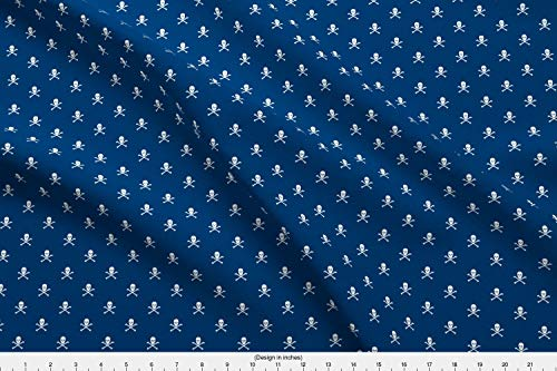 (Spoonflower Navy Fabric - Navy Skull Crossbones - by Littlemisscrow Printed on Modern Jersey Fabric by The Yard)