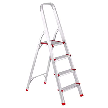 Ultra-Stable Step Foldable Aluminium Ladder (5.2 ft.) for Home Use with 5-Year Warranty by Kids Mandi