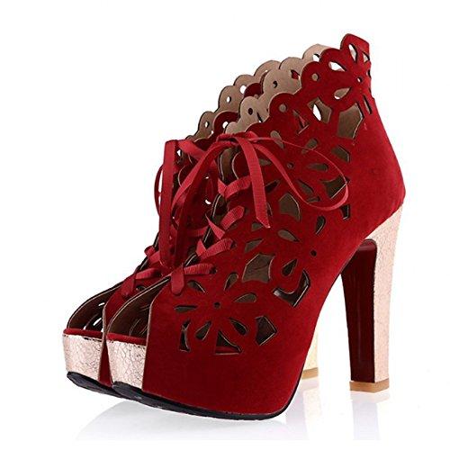 Primavera Office Sandalias Borgoña 4 REINO 5 CN33 Fiesta Zapatos Verano Peep US4 Negro Chunky para Mujer 5 de PU Oscuro Carreras Novedad Noche 2 UNIDO2 Comfort UE34 Toe Azul Talón ZHZNVX w618qIx
