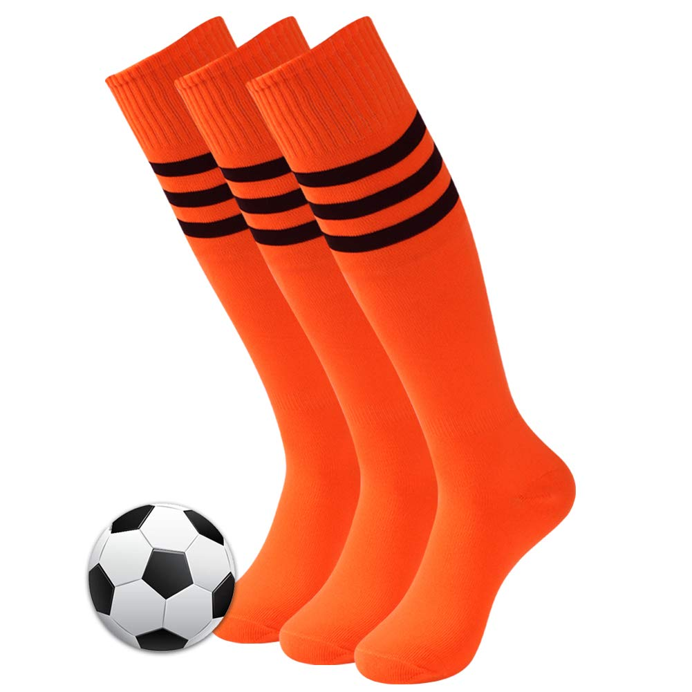 Long Soccer Socks, 3street Adult Youth Triple Stripe Wicking Moisture Athletic Knee-High Football Cycling Running Rugby Baseball Sport Compression Socks Orange 3 Pairs by Three street