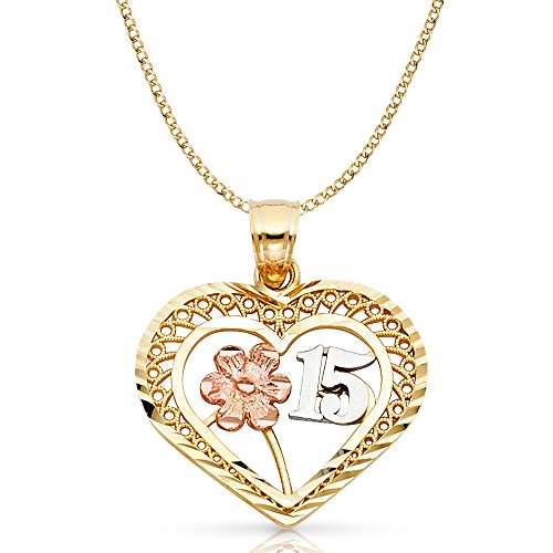 14K Two Tone Gold 15 Years Quinceanera Years Heart Charm Pendant For Necklace or Chain