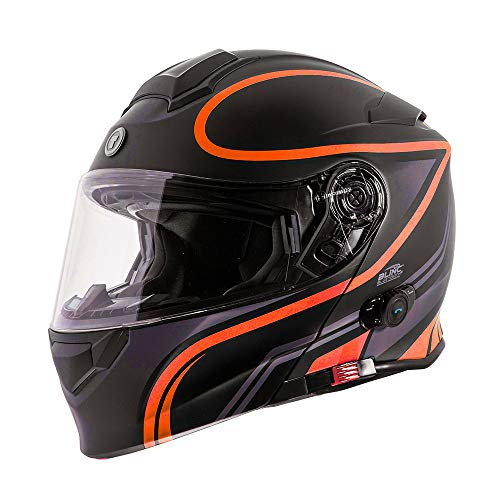 TORC Unisex-Adult Flip-Up Motorcycle Helmet Matte Black Orange X-LARGE