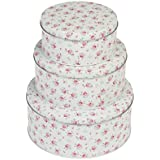 Set Of 3 La Petite Rose Design Storage Cake Tins by dotcomgiftshop