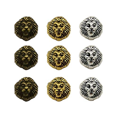 (36pcs Antique Silver Bronze Gold Mixed Lion Head Loose Spacer Bead,Craft Supplies Charms Pendants for Jewelry Findings Making Accessory for DIY Bracelet Necklace M197)