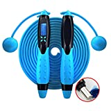 CNsoyee Jump Rope with Digital Counter-Cordless/Rope Indoor/Outdoor Workout Crossfit Adjustable Countdown Skipping Speed Fast Rope Fitness Equipment for Adults Kids Men Women Blue