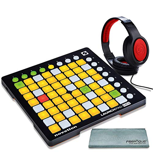 Novation Launchpad Mini Ableton Live Controller MK2 Bundle W/Stereo Headphones + Fibertique Cleaning Cloth