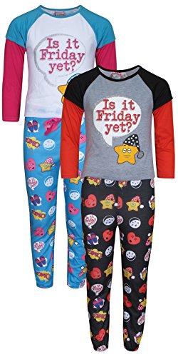 'Sweet & Sassy Girls\' Long-Sleeve Tops and Long Pants Pajama Sets, Emoji, Size 10/12' - Long Girls Pajamas