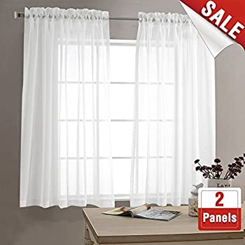 sheer white curtains for living room 63 inch length bedroom window curtain white sheer curtain panels rod pocket 2 panels - White Sheer Curtains