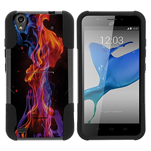 ZTE Quartz Stand Case, ZTE Z797C Shell [STRIKE IMPACT] Bumper Shell Hybrid Case Dual Action Silicone Kickstand Hard Shell Cover by Miniturtle - Flames Light (Quartz Light Celestial)
