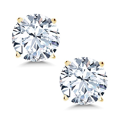 Gem Stone King 2.00 cttw 6mm White Created Sapphire 14K Yellow Gold Stud Earrings ()