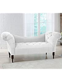 skyline furniture tufted chaise lounge in white