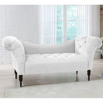 Lovely Skyline Furniture Tufted Chaise Lounge In White