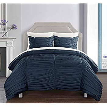 Image of Chic Home Kaiah 3 Piece Comforter Set Contemporary Striped Ruched Ruffled Design Bedding - Decorative Pillow Shams Included, King, Navy Home and Kitchen