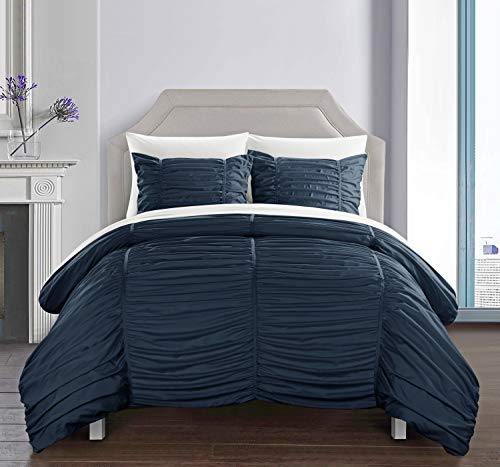 Chic Home Kaiah 3 Piece Comforter Set Contemporary Striped Ruched Ruffled Design Bedding - Decorative Pillow Shams Included, King, Navy