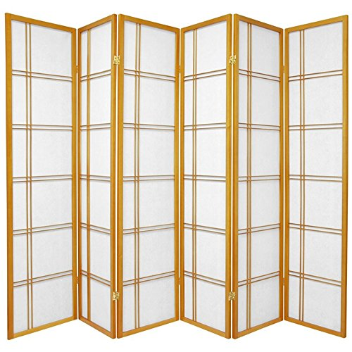 Oriental Furniture 6 ft. Tall Double Cross Shoji Screen - Honey - 6 Panels (Design Shoji Screen Wood)