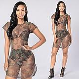 Women Dresses Teen Girls Camouflage See-Through