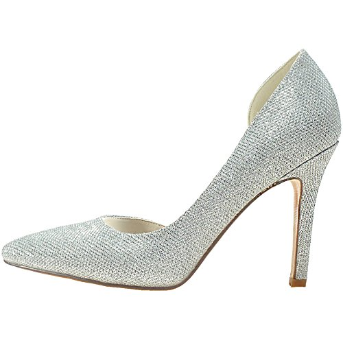 Loslandifen Bombas Para Mujer Con Punta En Punta Glitter Slip En Stiletto Zapatos De Novia Con Tacón Alto Blanco
