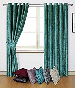 """Azul, De Terciopelo 45""""x 90–114cm x 229cm anillo Top cortinas & 2x fundas de cojín de 17"""""""