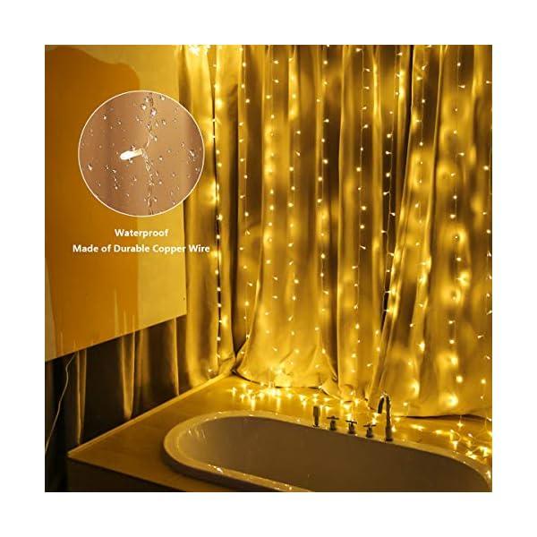 300 luci per tende a LED, 3 x 3 m,8 modalità, IP44 impermeabile, stanza, matrimonio, padiglione da giardino, Halloween,decorazioni natalizie [Classe di risparmio energetico A +++] 4 spesavip