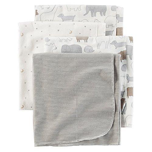 Carters 4-Pack Receiving Blanket Animals & Stars Gray ()