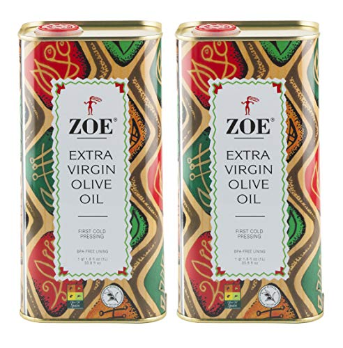 - Zoe Extra Virgin Olive Oil 1 Liter tins (Pack of 2), Spanish Extra Virgin Olive Oil, First Cold Pressing of Spanish Cornicabra Olives, Delicate Aromatic Buttery Flavor