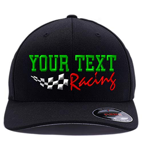 Custom Embroidered Racing hat. Place Your own Text, Words. 6477 Flexfit Wool Blend Cap. (S/M, Black)