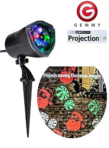 (Gemmy Lightshow Multi Color LED Projection Light Christmas Holiday Light Multi-Color Santa and Peppermint Candy)