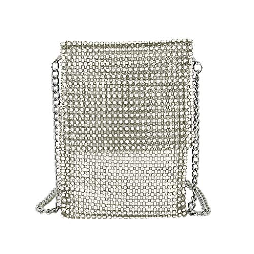 (Swyss Clutch Purses for Women Rhinestone Shoulder Bag Metal mesh Small Crossbody Bag Cell Phone Purse Wallet,Silver)
