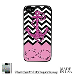 Anchor Live the Life You Love Infinity Quote (Not Actual Glitter) - Light Pink Black White Chevron with Anchor iPhone 5 5S Case - BLACK Hard by Unique Design Gifts