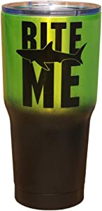 Bite Me with Shark | Matte Black and Metallic Neon Green | Stainless Steel Insulated Travel Tumbler Cup | Funny for Men