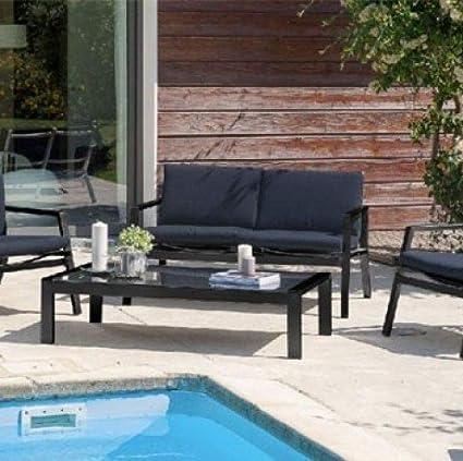 DCB Salon de jardin bas en aluminium et textilène noir: Amazon.fr ...