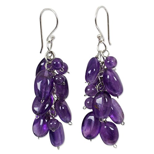 NOVICA Amethyst Cluster Earrings with Sterling Silver Hooks, Violet Clouds'