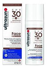 Ultrasun Face Gel Hidratante, Antiedad y Bronceador Con Protección Solar Para Piel Sensible SPF 30 - 50 ml.