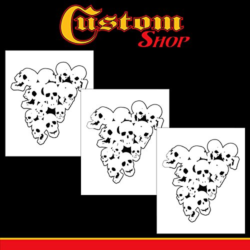 Custom Shop Airbrush Pile of Skulls Stencil Set (3 Pack of Same Skull Design) - Laser Cut Reusable Templates - Auto, Motorcycle Graphic - Paint Stencils Auto