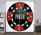 2 Panel Set Window Drapes Kitchen Curtains,Poker Tournament Casino Chip with Poker Word in Center Rich Icon Card Suits Decorative Army Green Vermilion White,for Bedroom Living Room Dorm Kitchen Cafe