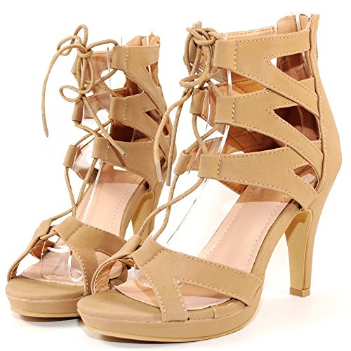 Women Fashion Gladiator Lace Up Sandals (7.5, Tan)