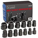 Hromee 13 Pieces Impact Bolt & Nut Remover Set, Metric & SAE Nut Extractor Socket
