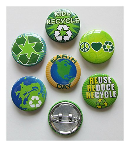 96 Pcs Earth Day Pins Recycle Mini Buttons Party Favors Go Green Save The Earth