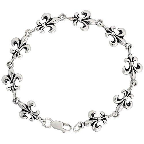 Revoni - Bracelet Femme - Argent massif - Bracelet avec Fleurs de Lys