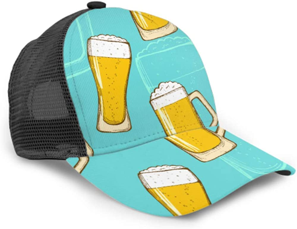 Baseball Cap Men Women Beer Pattern Repeating Handdrawing Colorful Adjustable Trucker Mesh Summer Vented Baseball Sun Cap Hat Caps for Men