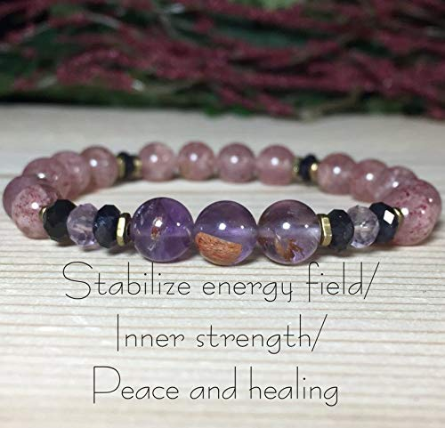 8mm Strawberry Quartz Bracelet, Cacoxenite Bracelet, Iolite Bracelet, Lavender Amethyst, Inner strength, Balance, Relieve stress, ()