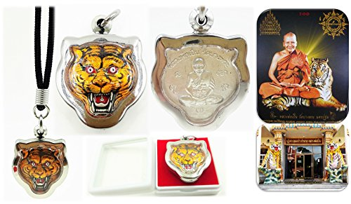 1 Box Antique style thai buddha phra Lp' pern wat bangpra talisman charm amulets head tiger for life protection with amulet necklace & special (Isabella Elephant Costume)